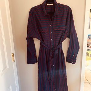Xirena burgundy/navy striped shirt dress
